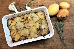 Layered Potato Bake Thyme Lemon Garlic Theo Michaels