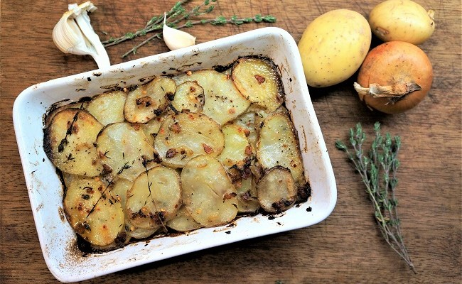 Potato Bake Recipe with Pancetta, Thyme, Garlic and Lemon