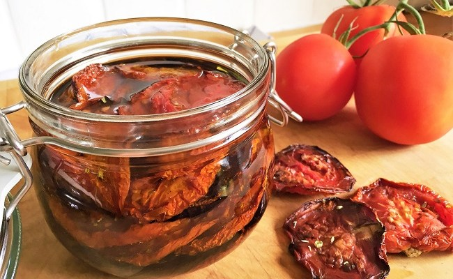 Oven Dried Tomatoes – made at home and stored in olive oil