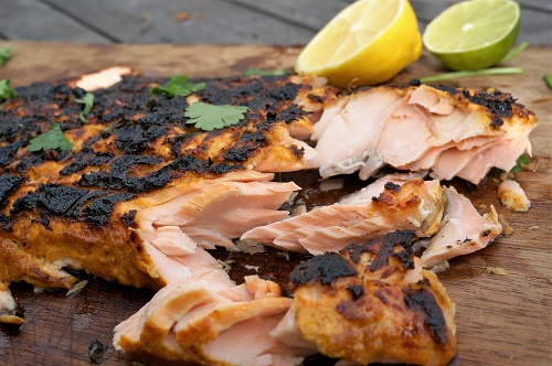 Tandoori Salmon Recipe - Salmon Marinade Recipe - Close Up by Theo Michaels