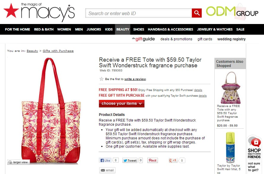 Beautiful Custom Tote by Taylor Swift Fragrance