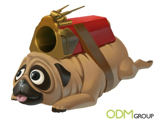 Unique CNY Gift Pug Ball Launching Toy