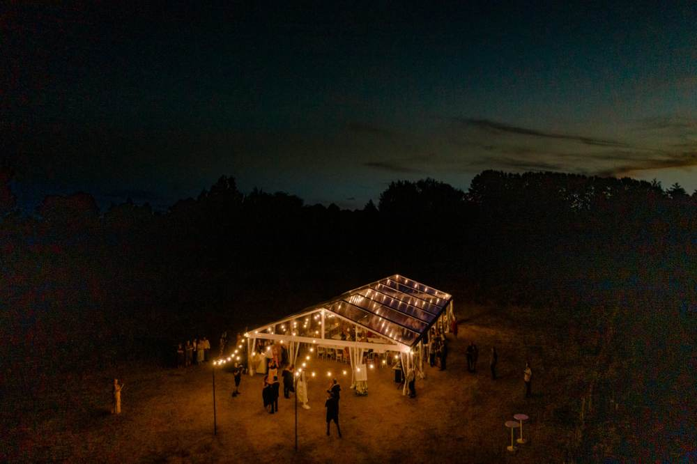 twelve tables clear marquee wedding photography