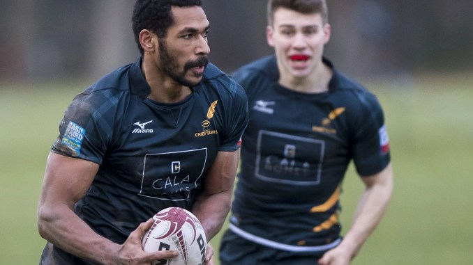 Ratu Tagive in action for Currie Chieftains in the BT Premiership last month.