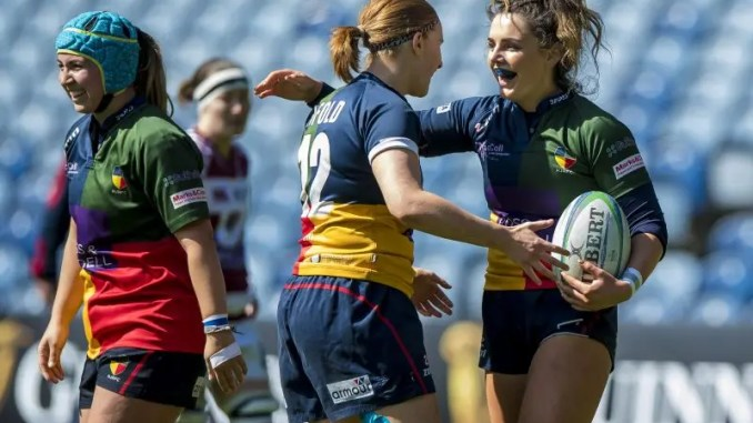Abi Evans celebrates one of her four tries for Hillhead/Jordanhill