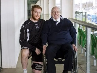 Jim Taylor with Glasgow Warriors stalwart Rob Harley