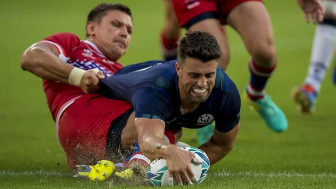 Adam Hastings scores Scotland's first try in a comprehensive win over Russia. Image: © Craig