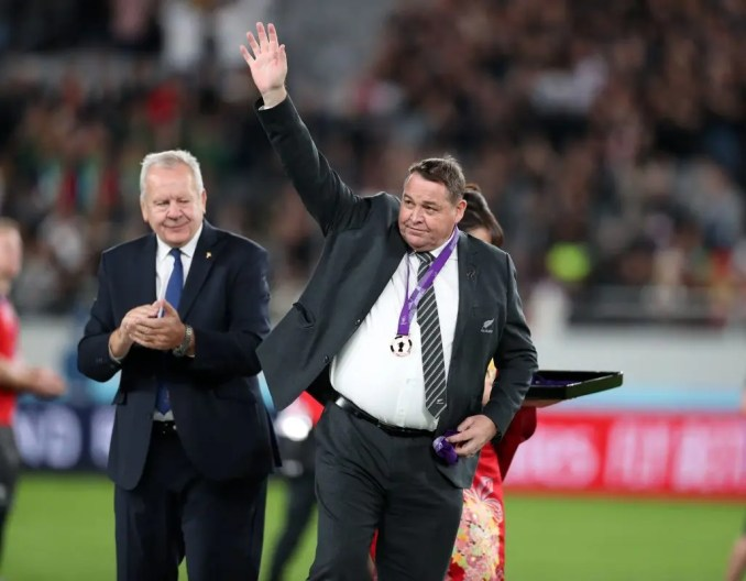 It was the end of an era for several countries with long-serving coaches stepping down at the end of the tournament, including New Zealand's Steve Hansen. Image: Fotosport/David Gibson