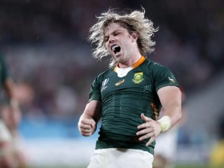South Africa scrum-half Faf de Klerk (who was arguably player of the tournament) is ecstatic as he celebrates scoring a try under the posts to extend his team's lead to 16-3 against host nation Japan in the quarter-final. Image: Fotosport/David Gibson