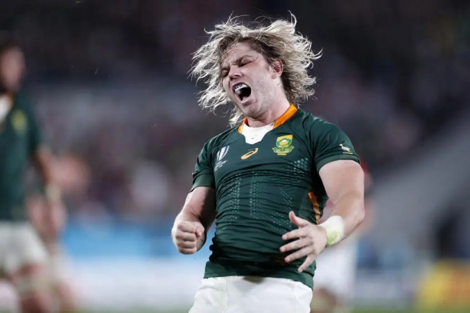 South Africa scrum-half Faf de Klerk (who was arguably player of the tournament) is ecstatic as he celebrates scoring a try under the posts to extend his team's lead to 16-3 against host nation Japan in the semi-final. Image: Fotosport/David Gibson