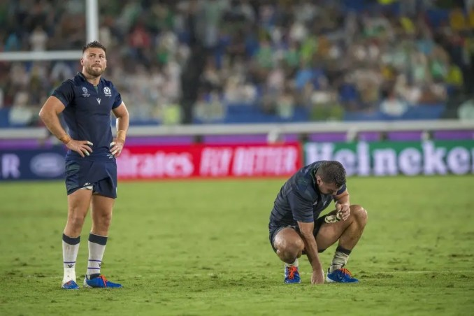 Ali Price and Stuart McInally were dejected after the defeat to Ireland. Image: © Craig Watson - www.craigwatson.co.uk