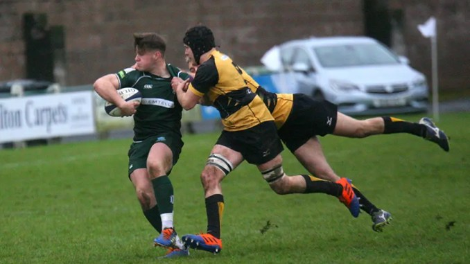Andrew Mitchell scored his sixth try of the season in Hawick's win over Currie Chieftains. Image: Kenny Baillie