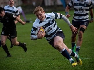 James Couper scores for Heriot's versus Southern Knights. Image: Ian Jacobs
