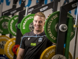 Kyle Steyn inspects the gym at Strathclyde University. Image: © Craig Watson - www.craigwatson.co.uk