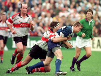 Ronnie Kirkpatrick, whilst playing for the Border Reivers, tackles Matt Perry of Bath during the 1997-98 Heineken Cup campaign. Image: David Gibson/Fotosport