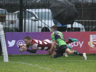Stuart Allison scores for Watsonians against Boroughmuir at the end of last month. Image: Graham Gaw