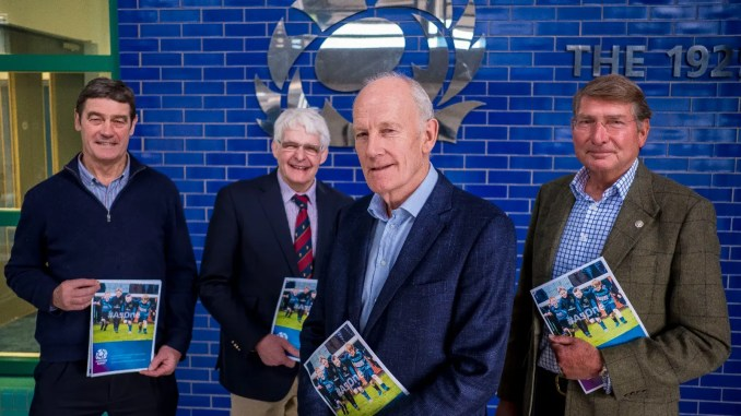Former Scotland stars Euan Kennedy ad Finlay Calder helped Sir Bill Gammell and Norman Murray present the review to the press at Murrayfield yesterday. Image: Craig Watson