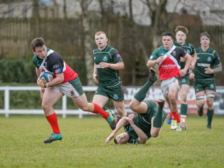 GHA's Elliot Hardie breaks through a tackle in there recent Premiership match against Hawick. Image: Colin Robinson