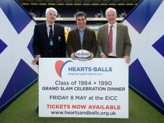 Fin Calder, Iwan Tukalo and Jim Calder help promote the Hearts + Balls charity dinner on 8th May. Image: Fotosport/David Gibson