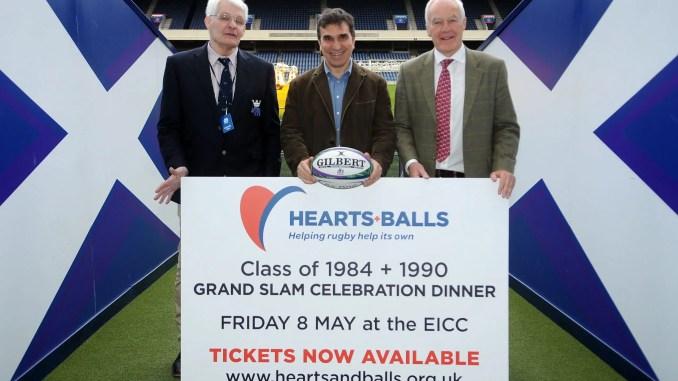 Fin Calder, Iwan Tukalo and Jim Calder help promote the Hearts + Balls charity dinner on 8th May. Image: Fotosport/David Gibson