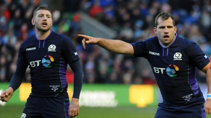 Fraser Brown and Finn Russell in action against Ireland during last year's Six Nations. Image: Fotosport/David Gibson