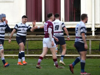 Ex Gala player Craig Robrtson opens up the scoring for Heriot's. Image: Alwyn Johnston