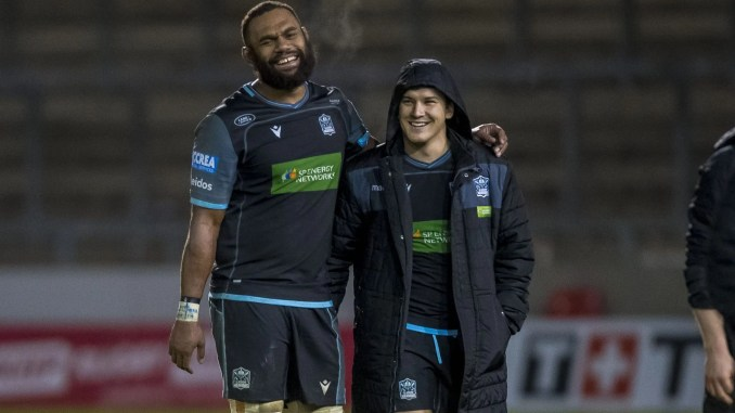 It's good to be back! Leone Nakarawa and Sam Johnson share a moment immediately after Glasgow Warriors' convincing win over Sale Sharks. Image: © Craig Watson - www.craigwatson.co.uk