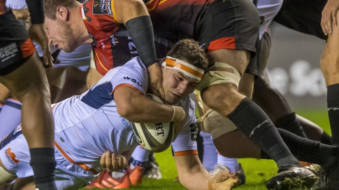 Mike Willemse scores Edinburgh's opening try. Image: © Craig Watson - www.craigwatson.co.uk