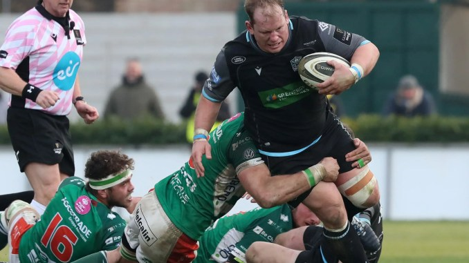 Petrus Du Plessis in action for Glasgow Warriors against Treviso last weekend. Image: Forsport/Daniele Resini