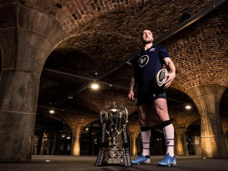 Scotland captain Stuart Hogg with the Six Nations trophy. Image: ©INPHO/Billy Stickland