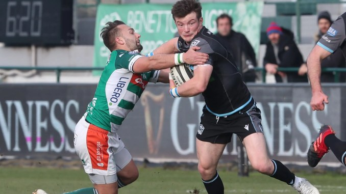 George Horne scored two tries for Glasgow Warriors in their bonus point win away to Benetton. Image: Fotosport/ Daniele Resini