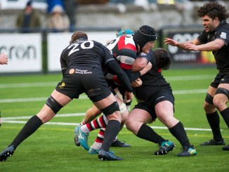 Stirling County flanker George Arnott is stopped in his tracks by Southern Knights' ferocious defence. Image: Bryan Robertson
