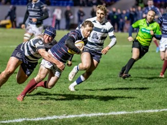 Jamie Forbes on his way to scoring his team's third try, which completed in impressive fightback from 18 points down. Image: John Williamson