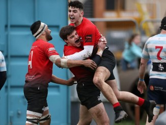 Glasgow Hawks players celebrate Max Priestly's second half try. Image: FOTOSPORT/DAVID GIBSON