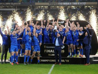 Leinster players celebrate after winning the Pro14 Final against Glasgow Warriors last May. Image: Fotosport/David Gibson
