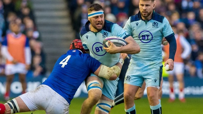 Nick Haining in action for Scotland against France yesterday. Image: Craig Watson