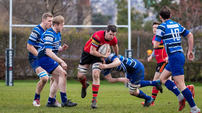 Stewart's Melville bolstered their position at the top of the league with a big win over Whitecraigs. Image: Jax MacKenzie