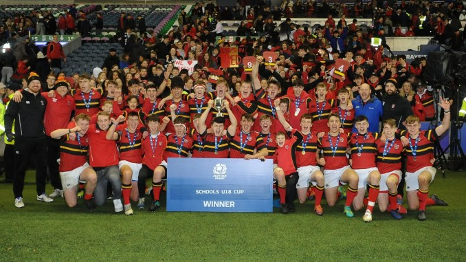 Stewart's Melville players celebrate winning the Scottish Schools' Under-18 Cup Final back in December. Image: Fotosport/David Gibson