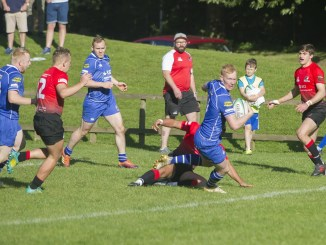 Callum Young scores in a 38-33 victory for Jed over Glasgow Hawks back in September. Image: Bill McBurnie