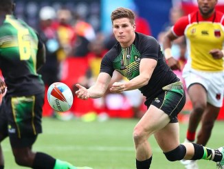 Rhodri Adamson in action for the Jamaica Sevens team.