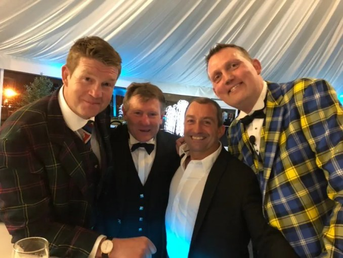 Carl Hogg, Gary Armstrong and Bryan Redpath with Doddie Weir at a recent fundraising dinner