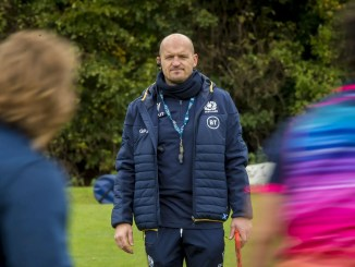 Gregor Townsend runs the rule over his Scotland squad at training last week. Image: © Craig Watson - www.craigwatson.co.uk