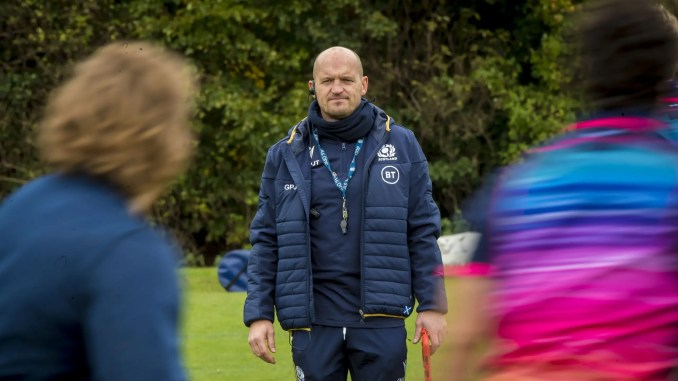 Gregor Townsend runs the rule over his Scotland squad at training last week. Image: © Craig Watson - www.craigwatson.co.uk
