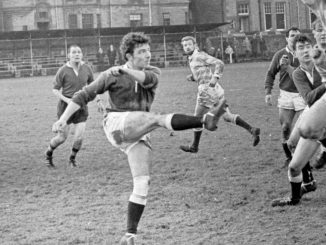 Harry Whittaker in action for Hawick against Edinburgh Accies in the late 1960s.
