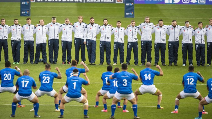 Samoa perform the Manu Siva Tau against Scotland at Murrayfield in 2017. They have played 24 away games against Tier One opposition but only been visited by those same teams four times. Image: Image: © Craig Watson - www.craigwatson.co.uk