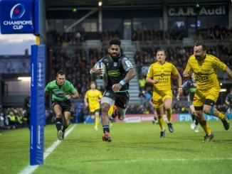 Niko Matawalu scores a try against La Rochelle during the 2019-20 Champions Cup, but will be restricted to Challenge Cup duty in the knock-out stage of this year's European campaign. Image: © Craig Watson - www.craigwatson.co.uk