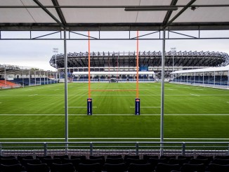 Mini Murrayfield with the national stadium in the background. Image courtesy: Scottish Rugby / Ross Parker / SNS Group