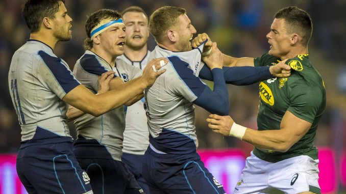 Finn Russell and Jesse Kriel exchange pleasantries when Scotland hosted South Africa in November 2018. Image: © Craig Watson - www.craigwatson.co.uk