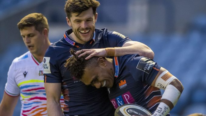 Edinburgh winger Eroni Sau celebrates his try with Blair Kinghorn. Image: © Craig Watson - www.craigwatson.co.uk