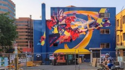 Colorful abstract mural near the Arlington Courthouse in the process of being torn down